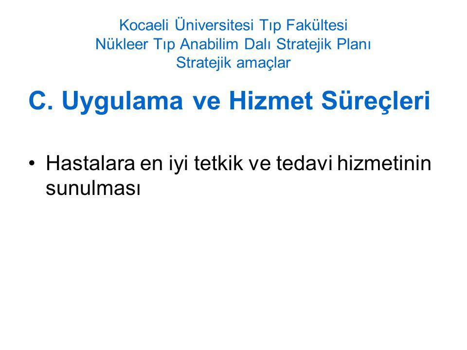 Kocaeli Üniversitesi Tıp Fakültesi Nükleer Tıp Anabilim Dalı Stratejik Planı Stratejik amaçlar C.