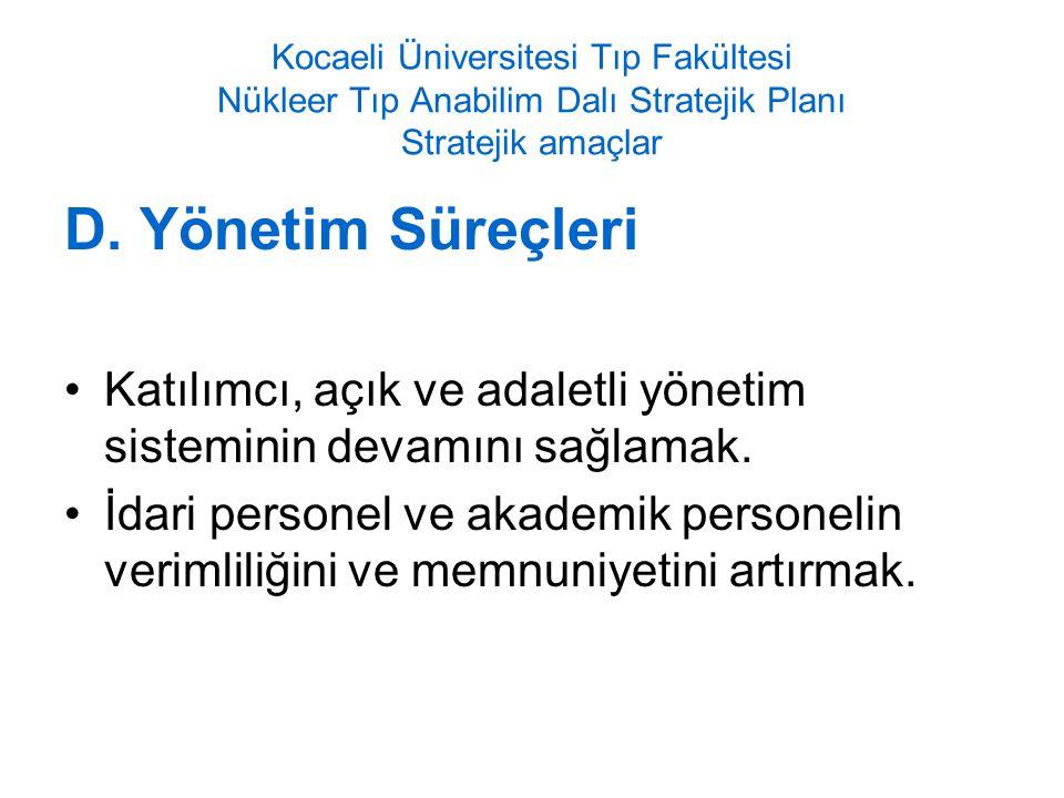 Kocaeli Üniversitesi Tıp Fakültesi Nükleer Tıp Anabilim Dalı Stratejik Planı Stratejik amaçlar D.