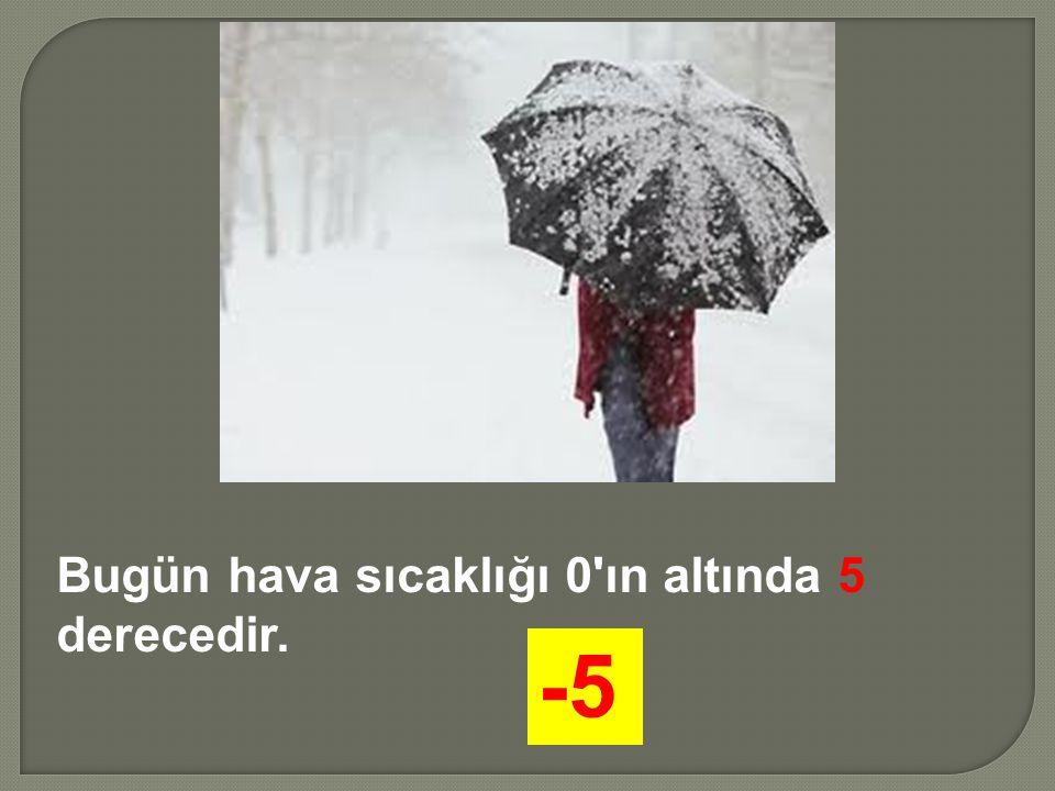Bugün hava sıcaklığı 0'ın altında 5 derecedir. -5