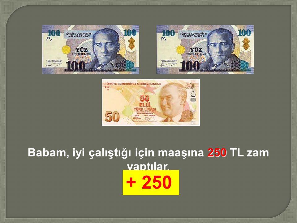 Babam, iyi çalıştığı için maaşına 2 22 250 TL zam yaptılar. + 250