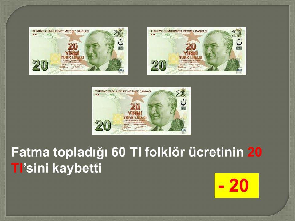 Fatma topladığı 60 Tl folklör ücretinin 20 Tl'sini kaybetti - 20