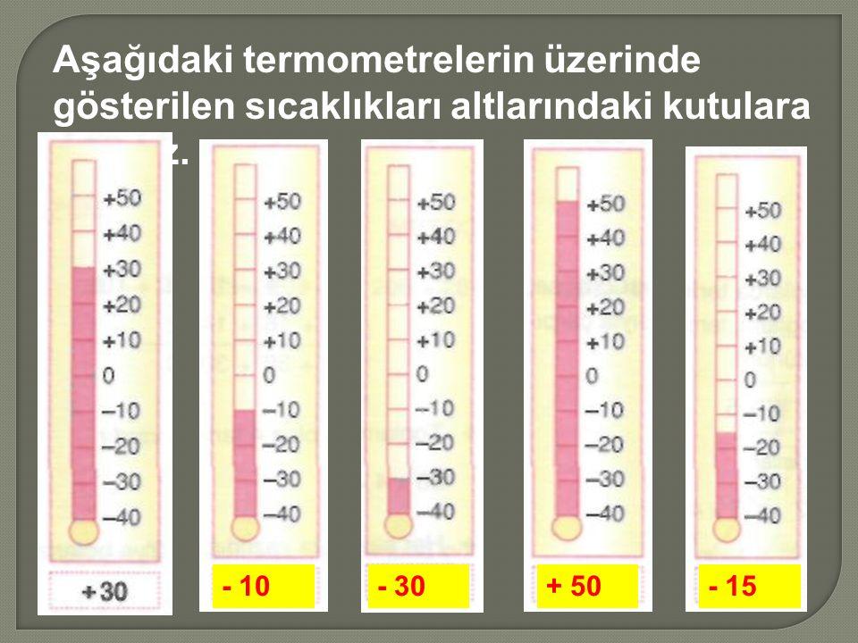Aşağıdaki termometrelerin üzerinde gösterilen sıcaklıkları altlarındaki kutulara yazınız. - 10- 30+ 50- 15