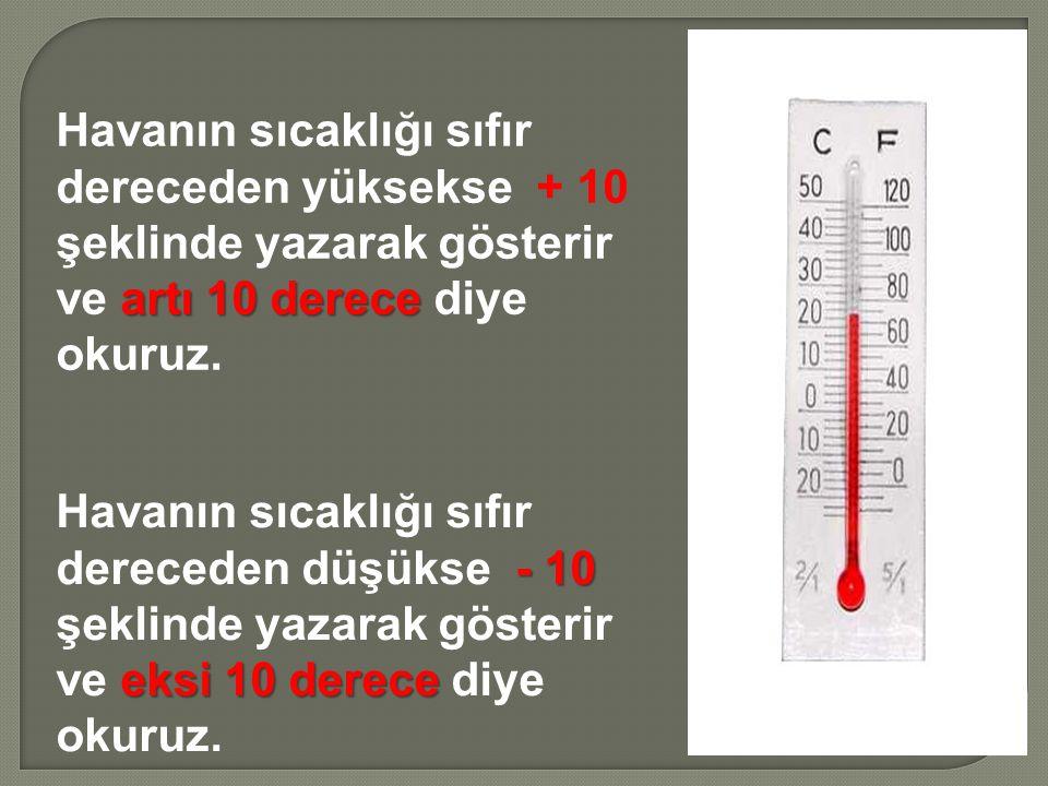 artı 10 derece Havanın sıcaklığı sıfır dereceden yüksekse + 10 şeklinde yazarak gösterir ve artı 10 derece diye okuruz. - 10 eksi 10 derece Havanın sı