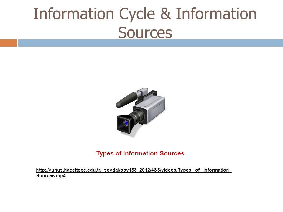 Information Cycle & Information Sources http://yunus.hacettepe.edu.tr/~soydal/bby153_2012/4&5/videos/Types_ of_ Information_ Sources.mp4 Types of Info