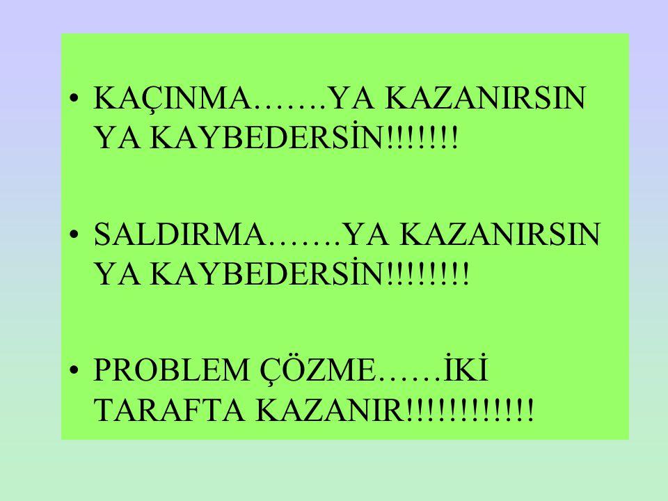 KAÇINMA…….YA KAZANIRSIN YA KAYBEDERSİN!!!!!!! SALDIRMA…….YA KAZANIRSIN YA KAYBEDERSİN!!!!!!!! PROBLEM ÇÖZME……İKİ TARAFTA KAZANIR!!!!!!!!!!!!