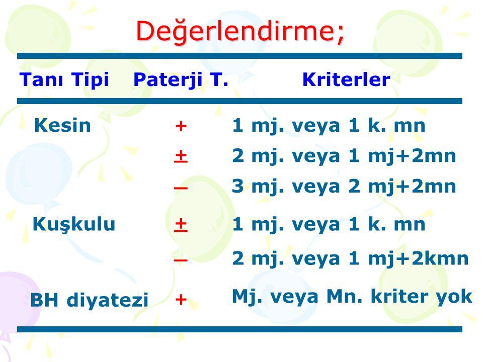 Değerlendirme; Tanı TipiPaterji T.Kriterler Kesin + 1 mj. veya 1 k. mn + _ 2 mj. veya 1 mj+2mn _ 3 mj. veya 2 mj+2mn Kuşkulu _ + 1 mj. veya 1 k. mn _