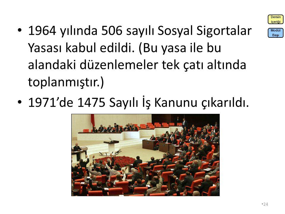 23 1946 yılında İşçi Sigortaları Kurumu kuruldu.1946 yılında Çalışma Bakanlığı kuruldu.