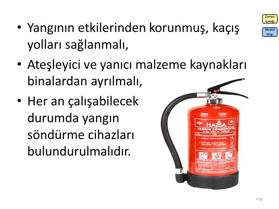 78 Yangına Karşı Alınması Gereken Önlemler Yapısal Olarak Alınabilecek Önlemler: Yapılarda yanmaz veya yanması güç yapı malzemeleri kullanılmalı, Yangının yayılmasını önlemek amacıyla, yangın bölümleri oluşturulmalı, Dumanların yayılmasını önlemek için duvardan sızmalar önlenmeli, Yangına yüksek derecede dayanıklı yapı oluşturulmalı, Dersin içeriği Modül Başı