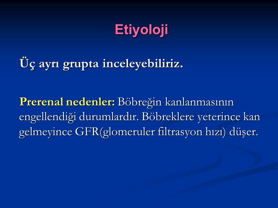 GRF'nı düşüren nedenler arasında; Hipovolemiye neden olan kusmalar.