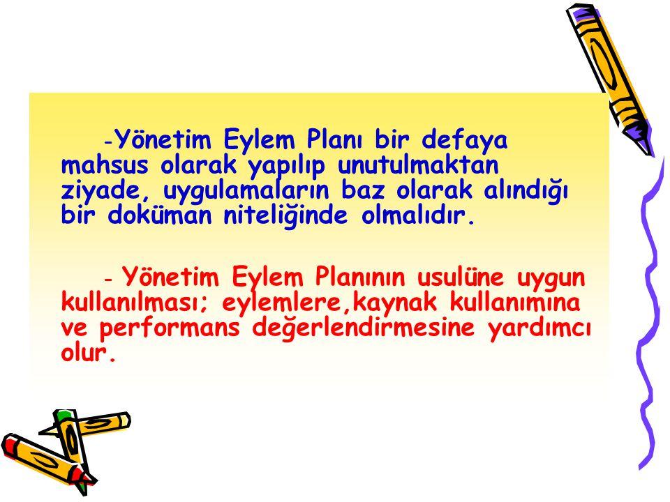YÖNETİM EYLEM PLANI ÜÇ AŞAMADA UYGULANIR 1-Mevcut durumun değerlendirilmesi 2-Hedeflerin belirlenmesi 3-Planlamalar