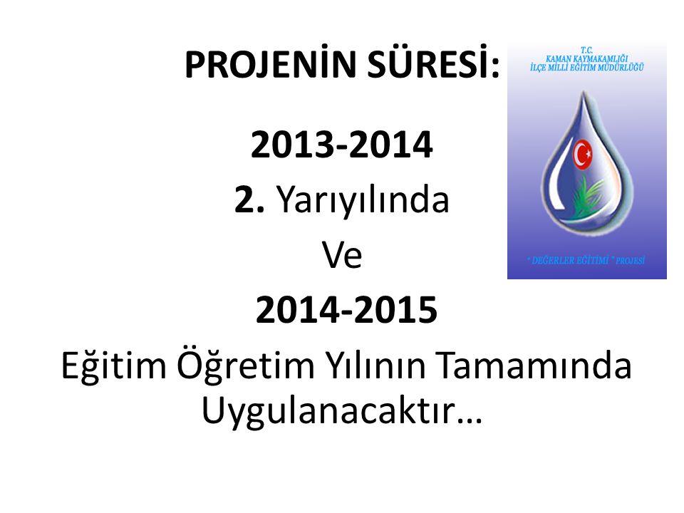 PROJENİN SÜRESİ: 2013-2014 2. Yarıyılında Ve 2014-2015 Eğitim Öğretim Yılının Tamamında Uygulanacaktır…