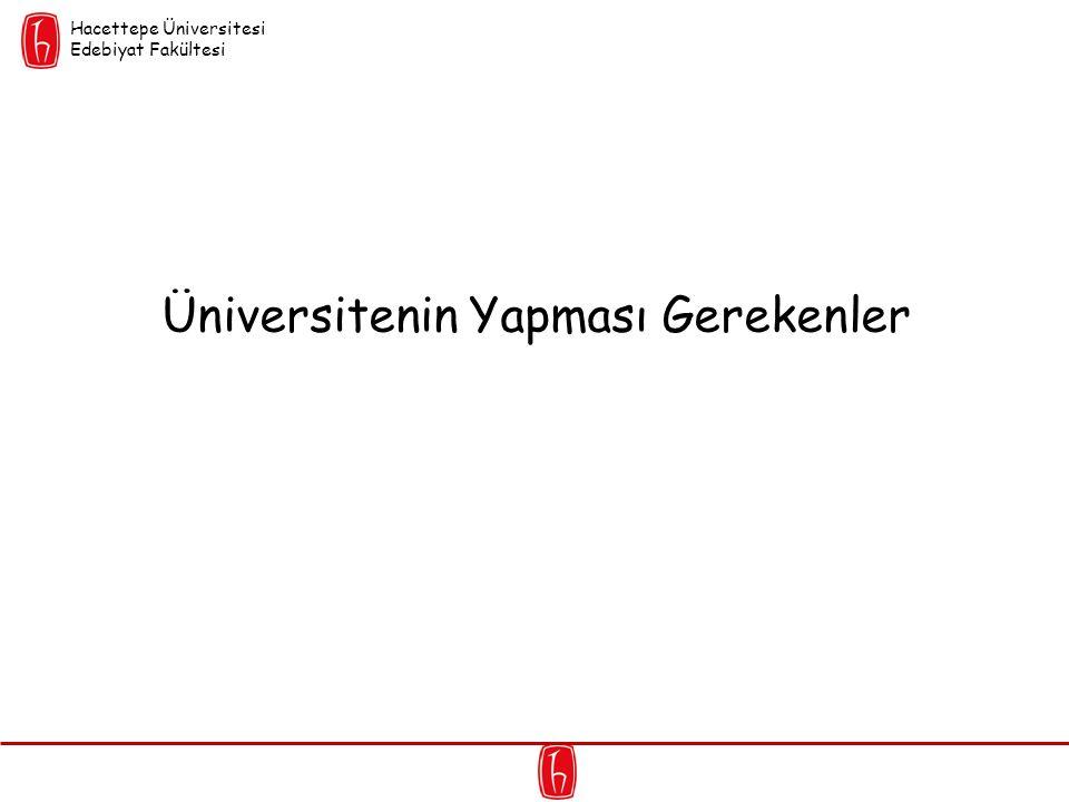 Üniversitenin Yapması Gerekenler Hacettepe Üniversitesi Edebiyat Fakültesi