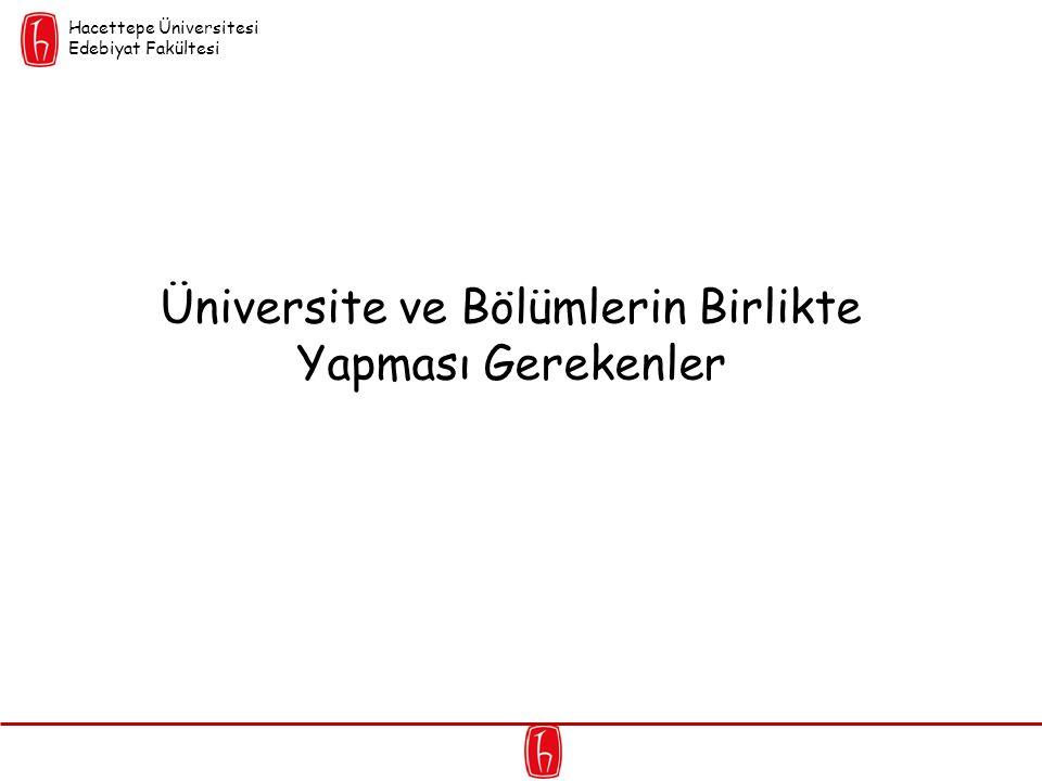 Üniversite ve Bölümlerin Birlikte Yapması Gerekenler Hacettepe Üniversitesi Edebiyat Fakültesi