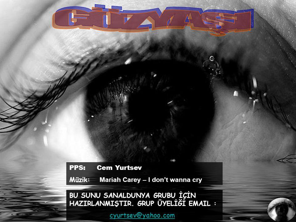 PPS: Cem Yurtsev Müzik: Mariah Carey – I don't wanna cry BU SUNU SANALDUNYA GRUBU İÇİN HAZIRLANMIŞTIR.