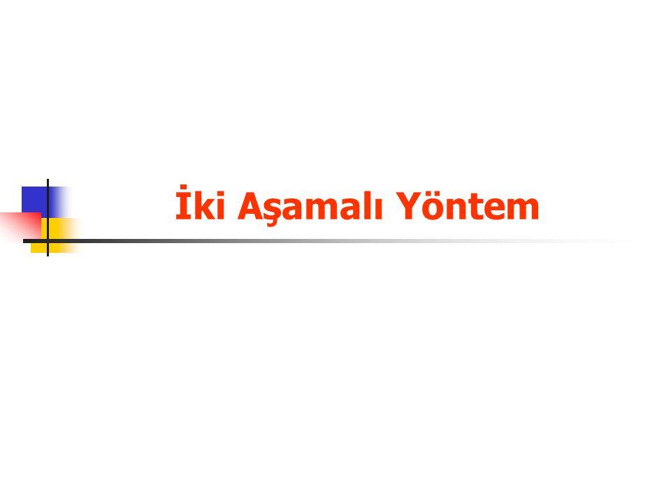 ÖRNEK 1 Dal-Sınır Yöntemi SİMAY A.Ş.