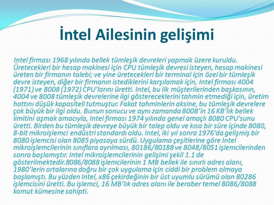 İntel Ailesinin gelişimi Intel firması 1968 yılında bellek tümleşik devreleri yapmak üzere kuruldu.