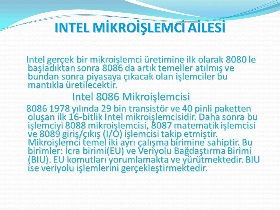 INTEL MİKROİŞLEMCİ AİLESİ Intel gerçek bir mikroişlemci üretimine ilk olarak 8080 le başladıktan sonra 8086 da artık temeller atılmış ve bundan sonra piyasaya çıkacak olan işlemciler bu mantıkla üretilecektir.