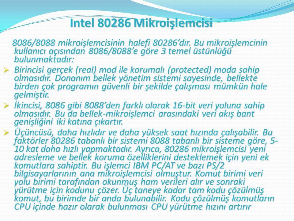 8086/8088 mikroişlemcisinin halefi 80286'dır.