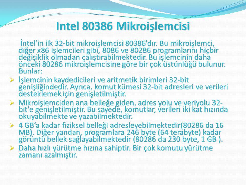 Intel 80386 Mikroişlemcisi İntel'in ilk 32-bit mikroişlemcisi 80386'dır.