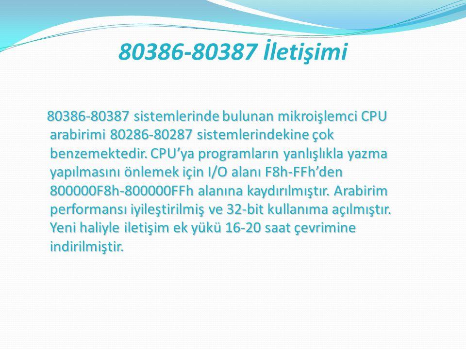 80386-80387 sistemlerinde bulunan mikroişlemci CPU arabirimi 80286-80287 sistemlerindekine çok benzemektedir.
