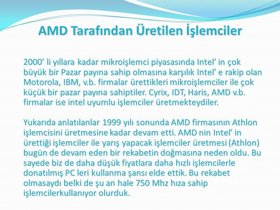 AMD Tarafından Üretilen İşlemciler 2000' li yıllara kadar mikroişlemci piyasasında Intel' in çok büyük bir Pazar payına sahip olmasına karşılık Intel' e rakip olan Motorola, IBM, v.b.