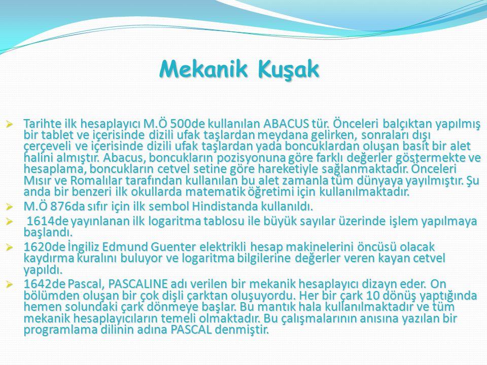  Tarihte ilk hesaplayıcı M.Ö 500de kullanılan ABACUS tür.