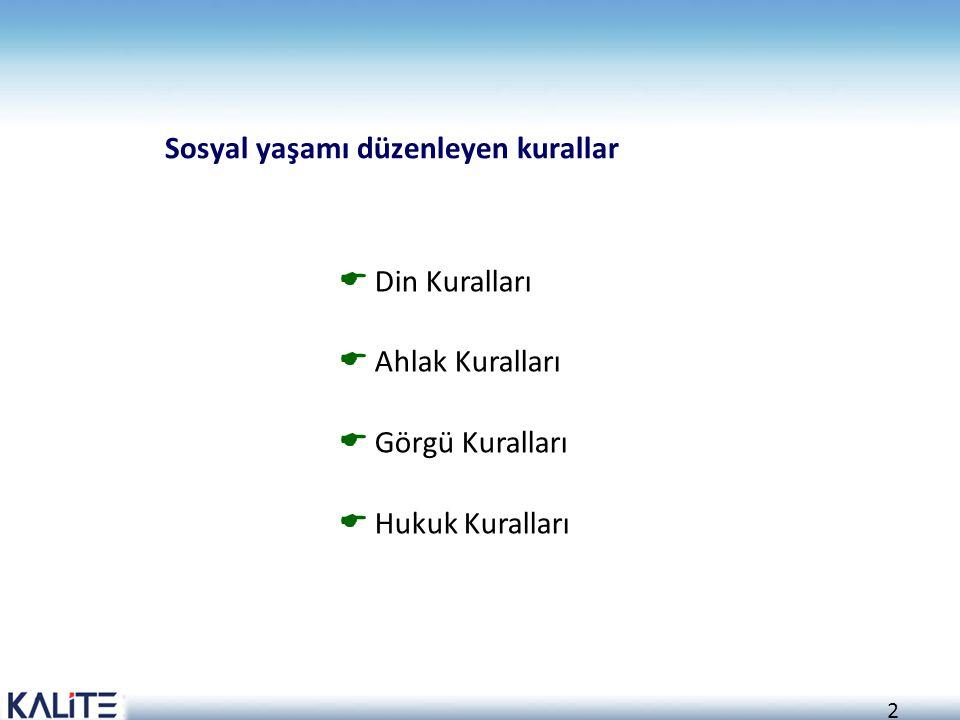2  Din Kuralları  Ahlak Kuralları  Görgü Kuralları  Hukuk Kuralları Sosyal yaşamı düzenleyen kurallar