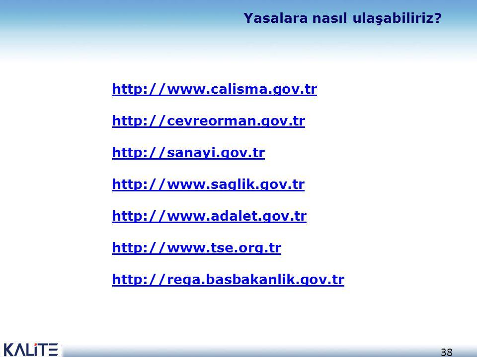 38 http://www.calisma.gov.tr http://cevreorman.gov.tr http://sanayi.gov.tr http://www.saglik.gov.tr http://www.adalet.gov.tr http://www.tse.org.tr htt