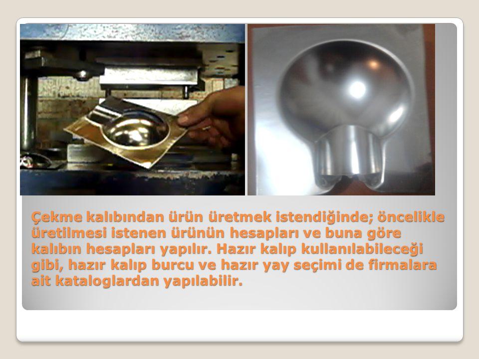 Çekme kalıbından ürün üretmek istendiğinde; öncelikle üretilmesi istenen ürünün hesapları ve buna göre kalıbın hesapları yapılır. Hazır kalıp kullanıl