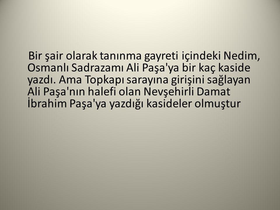 Bir şair olarak tanınma gayreti içindeki Nedim, Osmanlı Sadrazamı Ali Paşa'ya bir kaç kaside yazdı. Ama Topkapı sarayına girişini sağlayan Ali Paşa'nı