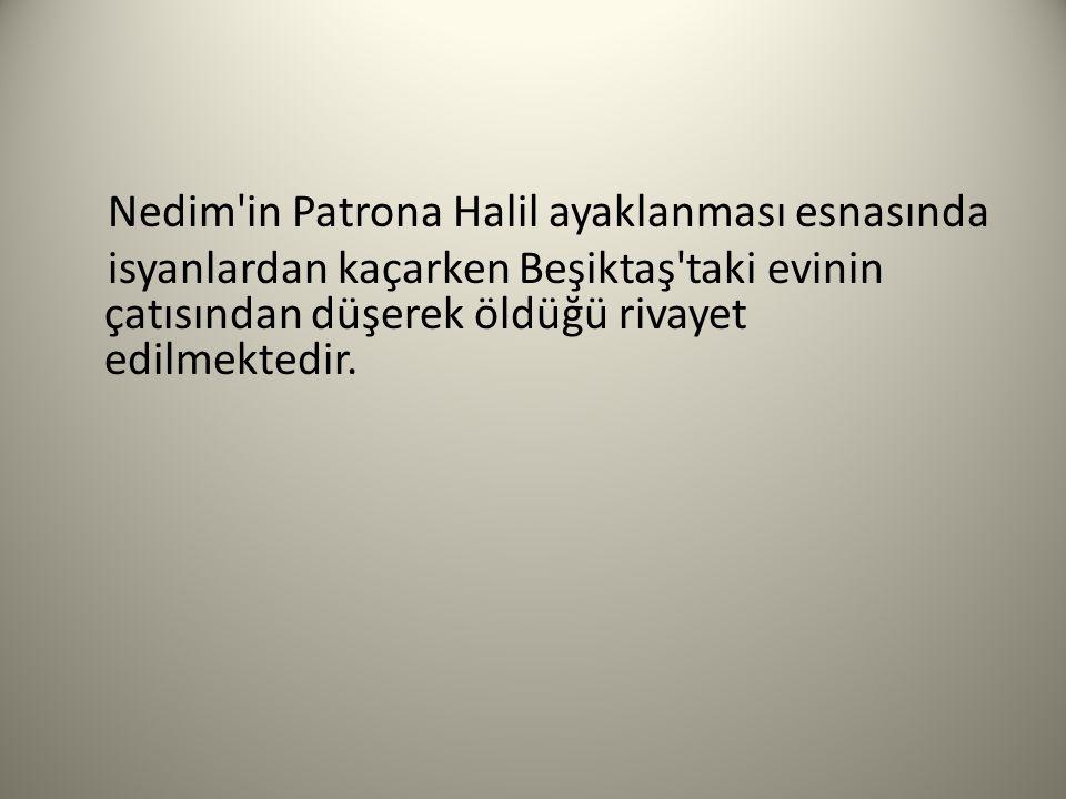 Nedim'in Patrona Halil ayaklanması esnasında isyanlardan kaçarken Beşiktaş'taki evinin çatısından düşerek öldüğü rivayet edilmektedir.