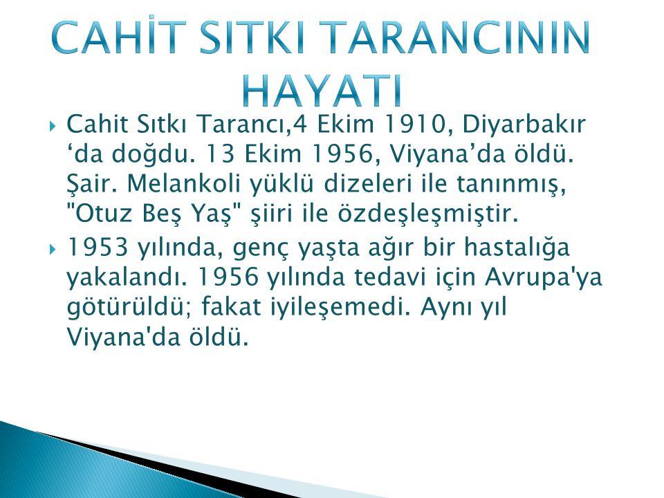  Cahit Sıtkı Tarancı,4 Ekim 1910, Diyarbakır 'da doğdu. 13 Ekim 1956, Viyana'da öldü. Şair. Melankoli yüklü dizeleri ile tanınmış,