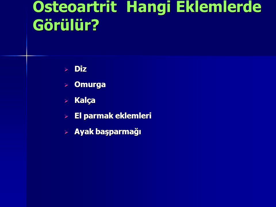  Diz  Omurga  Kalça  El parmak eklemleri  Ayak başparmağı Osteoartrit Hangi Eklemlerde Görülür?