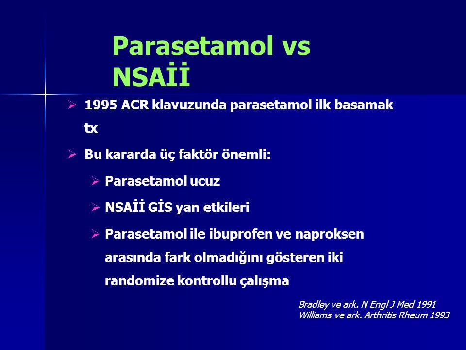 Parasetamol vs NSAİİ  1995 ACR klavuzunda parasetamol ilk basamak tx  Bu kararda üç faktör önemli:  Parasetamol ucuz  NSAİİ GİS yan etkileri  Par
