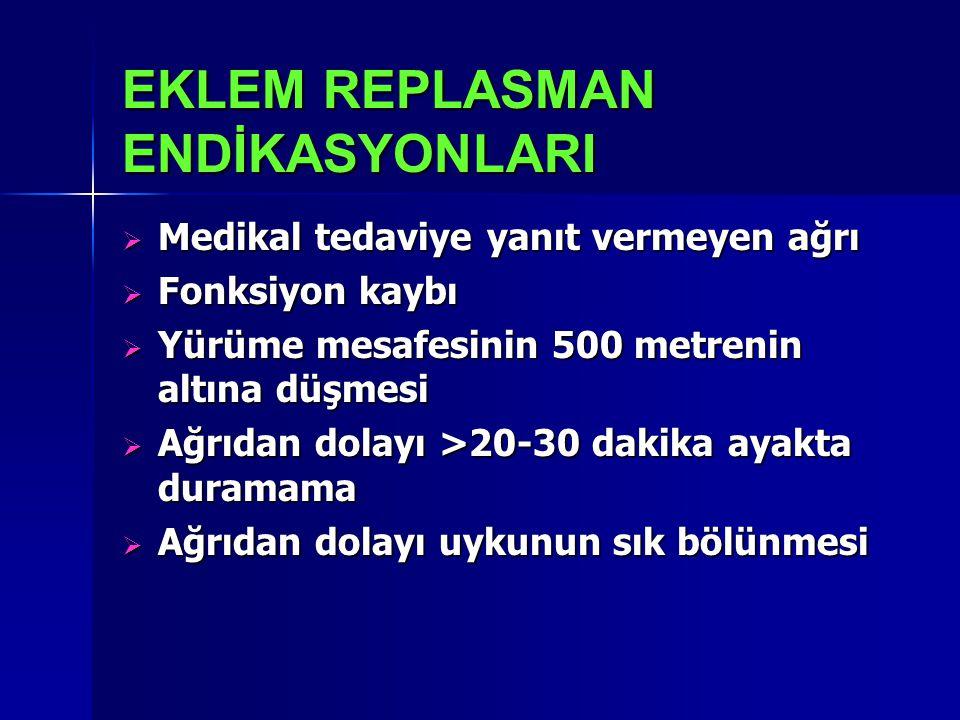 EKLEM REPLASMAN ENDİKASYONLARI  Medikal tedaviye yanıt vermeyen ağrı  Fonksiyon kaybı  Yürüme mesafesinin 500 metrenin altına düşmesi  Ağrıdan dol