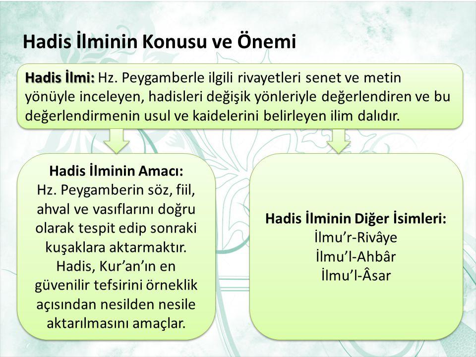1. Hadis İlminin Konusu ve ÖnemiHadis İlminin Konusu ve Önemi 2. Hadis İlminin Temel İslam Bilimleri ile İlişkisiHadis İlminin Temel İslam Bilimleri i