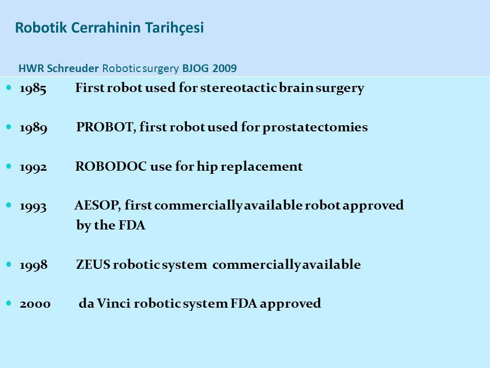 Robotik Cerrahinin Tarihçesi HWR Schreuder Robotic surgery BJOG 2009 1985 First robot used for stereotactic brain surgery 1989 PROBOT, first robot use