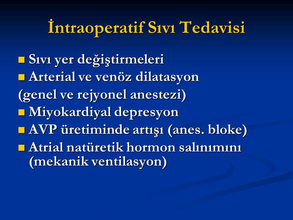 İntraoperatif Sıvı Tedavisi Sıvı yer değiştirmeleri Sıvı yer değiştirmeleri Arterial ve venöz dilatasyon Arterial ve venöz dilatasyon (genel ve rejyon