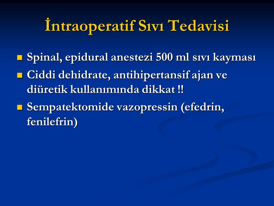 İntraoperatif Sıvı Tedavisi Spinal, epidural anestezi 500 ml sıvı kayması Spinal, epidural anestezi 500 ml sıvı kayması Ciddi dehidrate, antihipertans