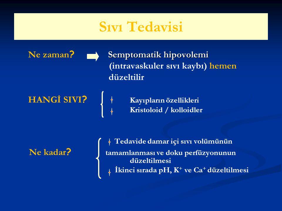 Sıvı Tedavisi Semptomatik hipovolemi Ne zaman ? Semptomatik hipovolemi (intravaskuler sıvı kaybı) hemen düzeltilir HANGİ SIVI ? Kayıpların özellikleri
