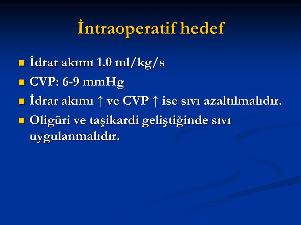 İntraoperatif hedef İdrar akımı 1.0 ml/kg/s İdrar akımı 1.0 ml/kg/s CVP: 6-9 mmHg CVP: 6-9 mmHg İdrar akımı ↑ ve CVP ↑ ise sıvı azaltılmalıdır. İdrar