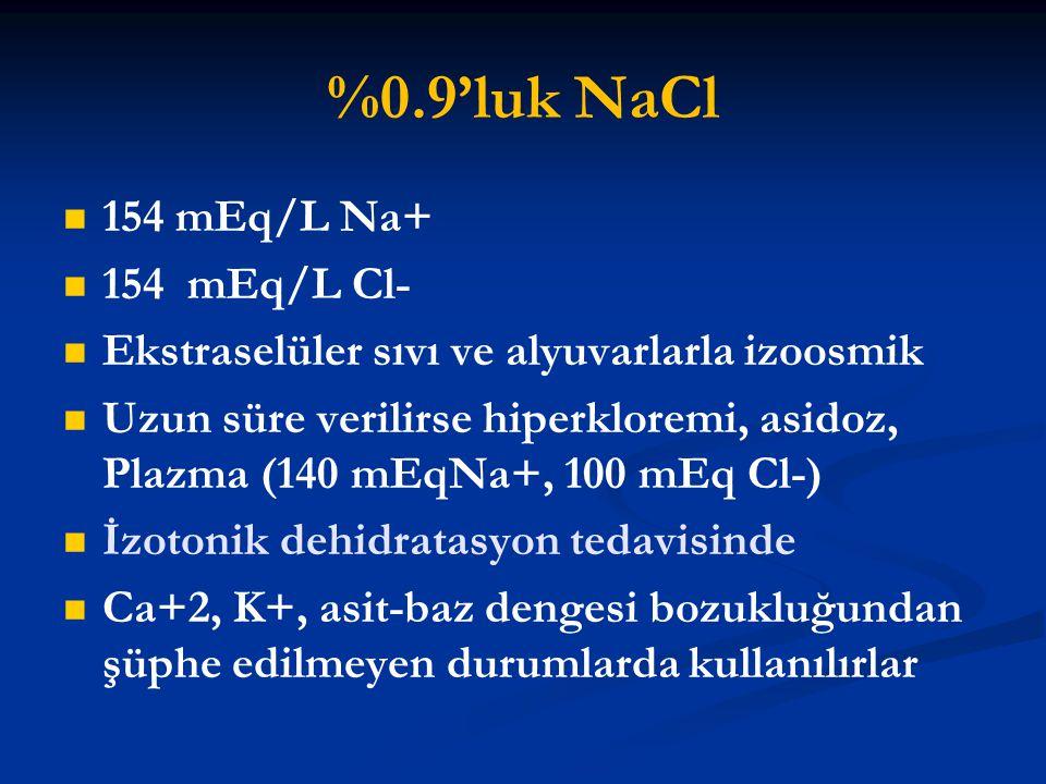 %0.9'luk NaCl 154 mEq/L Na+ 154 mEq/L Cl- Ekstraselüler sıvı ve alyuvarlarla izoosmik Uzun süre verilirse hiperkloremi, asidoz, Plazma (140 mEqNa+, 10