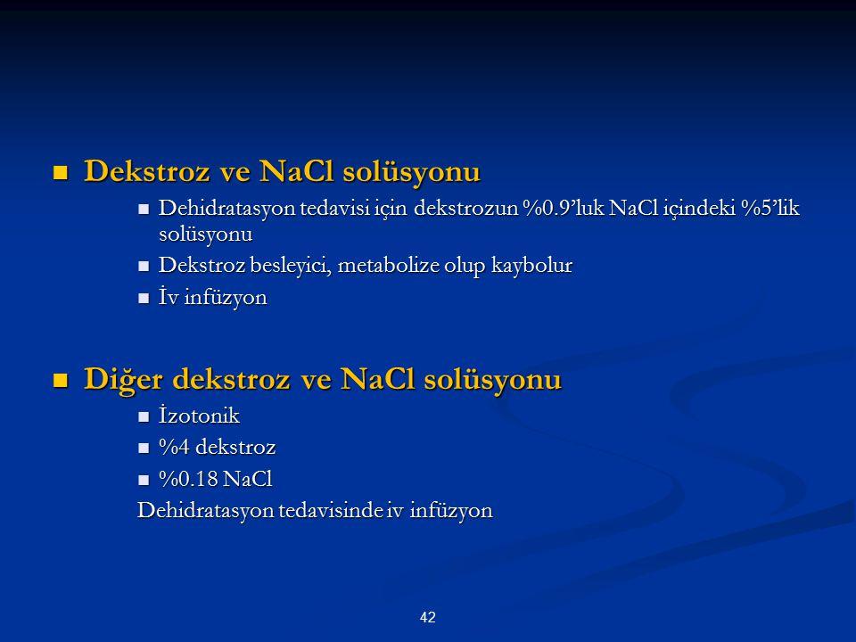 42 Dekstroz ve NaCl solüsyonu Dekstroz ve NaCl solüsyonu Dehidratasyon tedavisi için dekstrozun %0.9'luk NaCl içindeki %5'lik solüsyonu Dehidratasyon