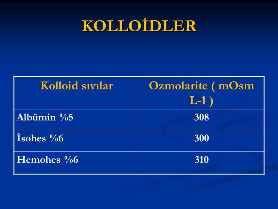 KOLLOİDLER Kolloid sıvılarOzmolarite ( mOsm L-1 ) Albümin %5308 İsohes %6300 Hemohes %6310