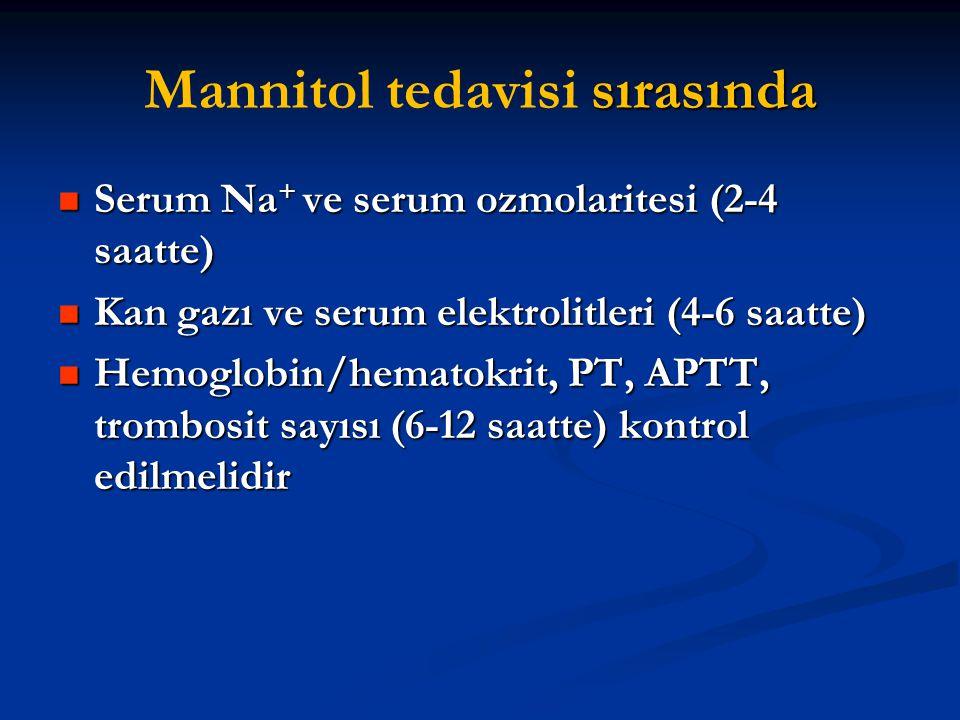 sırasında Mannitol tedavisi sırasında Serum Na + ve serum ozmolaritesi (2-4 saatte) Serum Na + ve serum ozmolaritesi (2-4 saatte) Kan gazı ve serum el