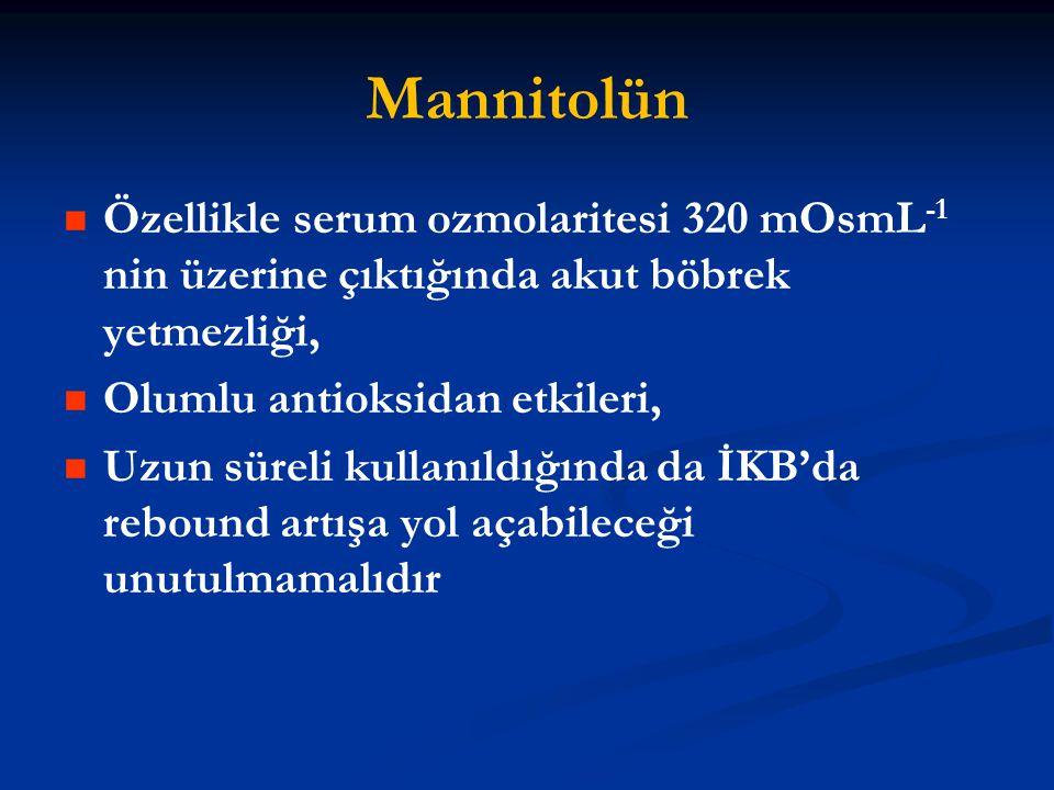 Mannitolün Özellikle serum ozmolaritesi 320 mOsmL -1 nin üzerine çıktığında akut böbrek yetmezliği, Olumlu antioksidan etkileri, Uzun süreli kullanıld