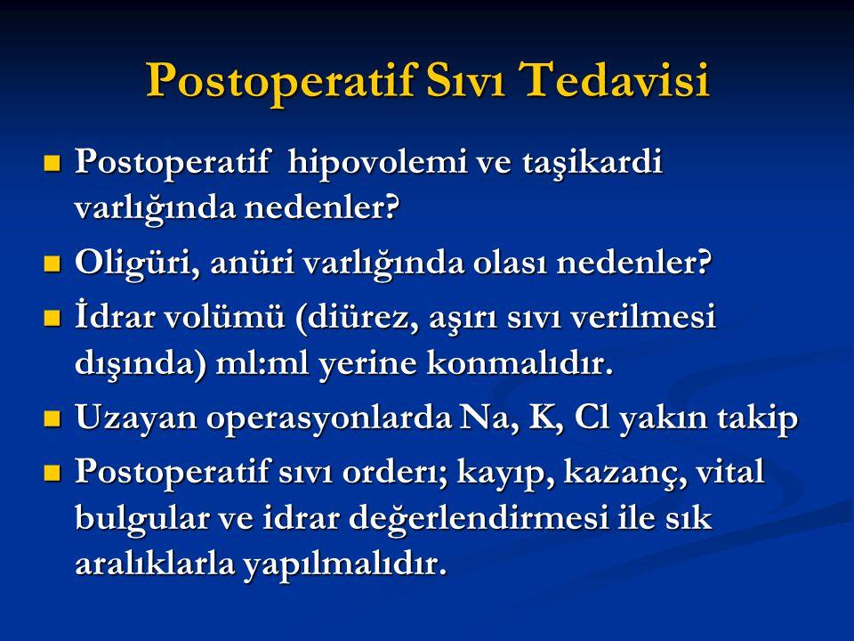 Postoperatif Sıvı Tedavisi Postoperatif hipovolemi ve taşikardi varlığında nedenler? Postoperatif hipovolemi ve taşikardi varlığında nedenler? Oligüri
