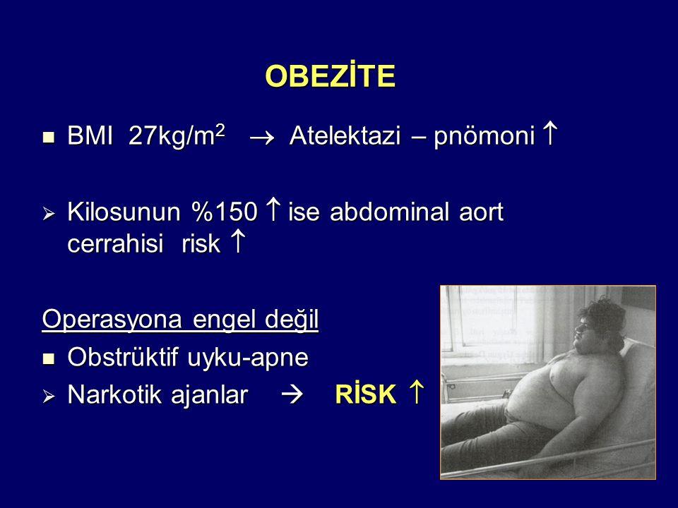 OBEZİTE BMI 27kg/m 2  Atelektazi – pnömoni  BMI 27kg/m 2  Atelektazi – pnömoni   Kilosunun %150  ise abdominal aort cerrahisi risk  Operasyona engel değil Obstrüktif uyku-apne Obstrüktif uyku-apne  Narkotik ajanlar  RİSK 