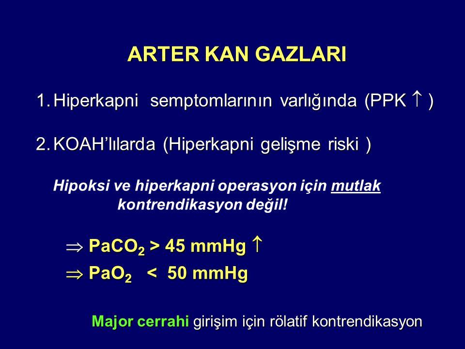 ARTER KAN GAZLARI 1.Hiperkapni semptomlarının varlığında (PPK  ) 2.KOAH'lılarda (Hiperkapni gelişme riski ) Hipoksi ve hiperkapni operasyon için mutlak kontrendikasyon değil.