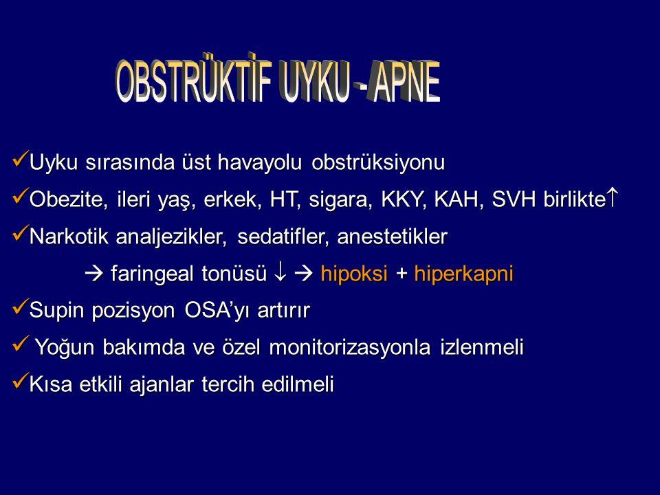 Uyku sırasında üst havayolu obstrüksiyonu Uyku sırasında üst havayolu obstrüksiyonu Obezite, ileri yaş, erkek, HT, sigara, KKY, KAH, SVH birlikte  Obezite, ileri yaş, erkek, HT, sigara, KKY, KAH, SVH birlikte  Narkotik analjezikler, sedatifler, anestetikler Narkotik analjezikler, sedatifler, anestetikler  faringeal tonüsü   hipoksi + hiperkapni  faringeal tonüsü   hipoksi + hiperkapni Supin pozisyon OSA'yı artırır Supin pozisyon OSA'yı artırır Yoğun bakımda ve özel monitorizasyonla izlenmeli Yoğun bakımda ve özel monitorizasyonla izlenmeli Kısa etkili ajanlar tercih edilmeli Kısa etkili ajanlar tercih edilmeli